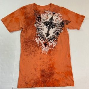 Affliction Distressed Logo Tee Shirt M